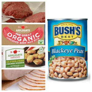 4 oz. Hamburger Patty - 28 grams.  1 Applegate Organic Beef Hot Dog - 6 grams.  7 Applegate GF Chicken Nuggets - 12 grams, 2 slices Boars Head Ovengold Turkey sliced medium from deli - 13 grams, 1/2 cup blackeye peas - 6 grams