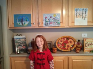 "Kate with her winter art gallery ... ""Pastels in Winter."""