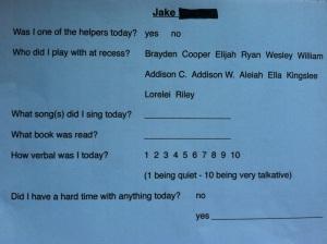 parent teacher speech sheet
