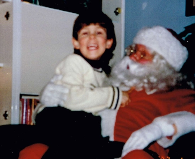 "Picture from ""Anything But Silent,"" Andy with Santa, Posted by www.jakes-journey-apraxia.com"