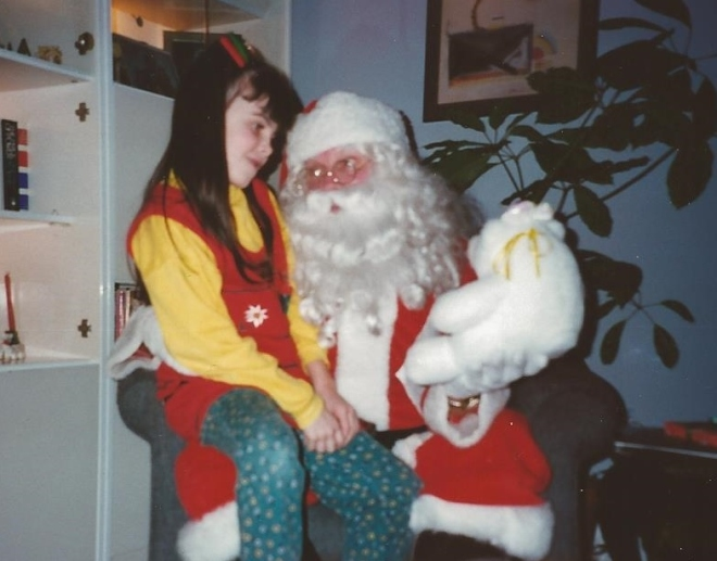 "Picture from ""Anything But Silent,"" Kate with Santa, Posted by www.jakes-journey-apraxia.com"