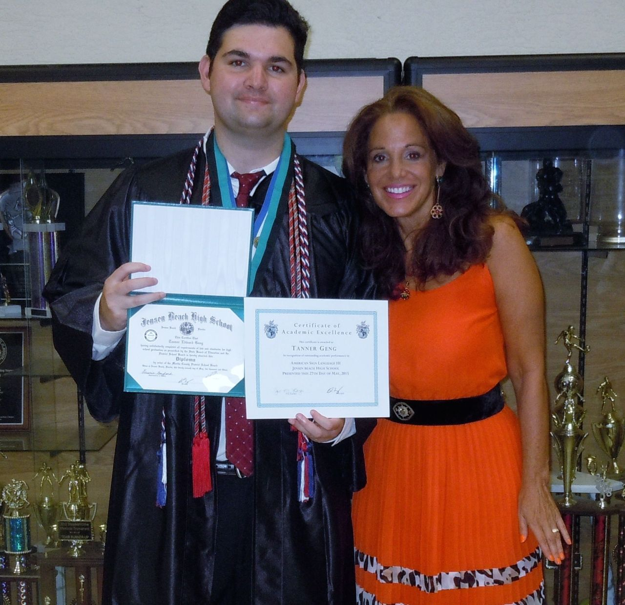 Tanner and his mom Lisa at his high school graduation this week - www.jakes-journey-apraxia